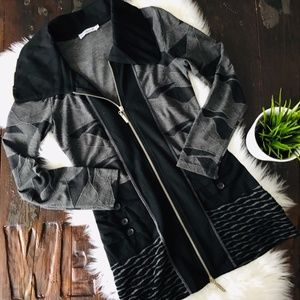 DZHAVAEL COUTURE Black & Gray Zip Tunic Jacket EUC